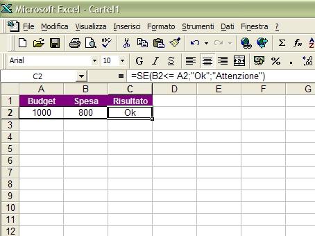 Funzione SE con Excel