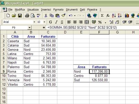 Funzione SOMMA.SE con Excel